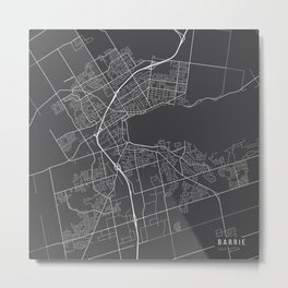 Barrie Map, Canada - Gray Metal Print