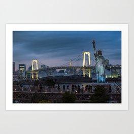 Statue of liberty and Rainbow bridge of Tokyo, Japan. Art Print
