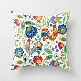 Polish Folk Roosters White Throw Pillow