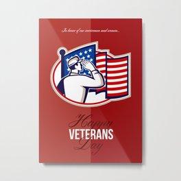 Veterans Day Modern American Soldier Card Metal Print