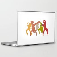 hip hop Laptop & iPad Skins featuring Colorful Hip Hop Dancers by PeculiarDesign