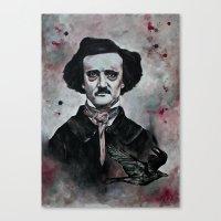 edgar allan poe Canvas Prints featuring Edgar Allan Poe by Bella Harris