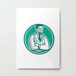 Doctor Stethoscope Standing Circle Retro Metal Print