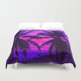Pink Palm Trees by the Indian Ocean Duvet Cover