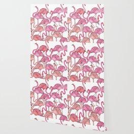 Flamingos Pattern White Wallpaper