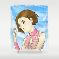 digimon Shower Curtains featuring Mark of Light by AriesNamarie