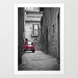 red car in black and white background Art Print