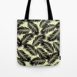 Palm Frond Tropical Décor Leaf Pattern Black on Yellow Tote Bag