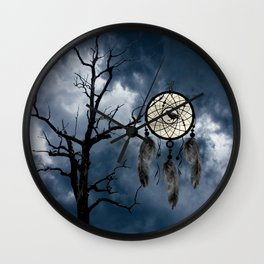Black Bird Crow Tree Dream Catcher Night Moon A082 Wall Clock