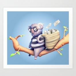 Koala Burglar Art Print