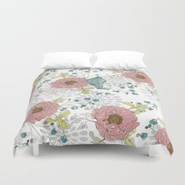 Blue Bird and Peonies Duvet Cover