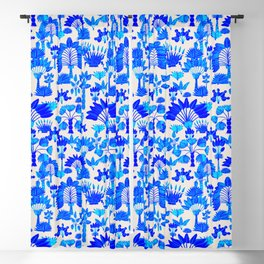 Exotic Garden Blue Blackout Curtain