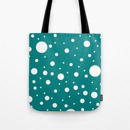 Mixed Polka Dots - White on Dark Cyan Tote Bag
