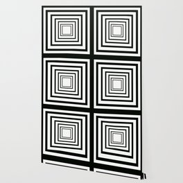 Concentric Squares Black and White Wallpaper