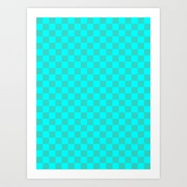 Cyan and Turquoise Checkerboard Art Print