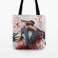 evil Tote Bags featuring Evil by Spectacle Photo