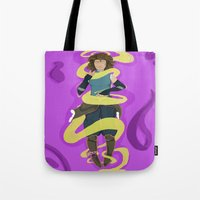 the legend of korra Tote Bags featuring Korra by Ivrai