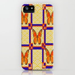 Decorative Monarch Butterflies Lapis Blue Geometrics Design iPhone Case