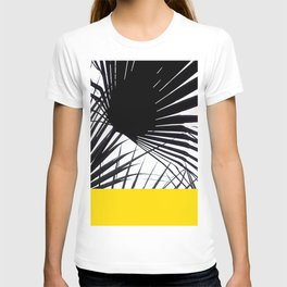 Black and White Tropical Palm Leaves on Sunny Yellow T-shirt