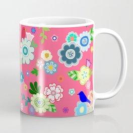 Whimsical Flowers & Birds in Red Coffee Mug