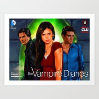 vampire diaries Art Prints featuring The Vampire Diaries by Don Kuing