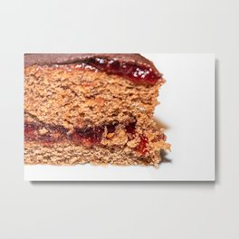 Detail of slice of chocolate cake with strawberry jam filling Metal Print