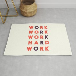 Work hard, hard work, office wall art, workshop sign, inspirational quote Rug