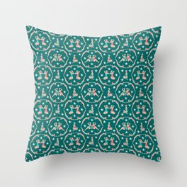 Retro Bathers in Teal Throw Pillow
