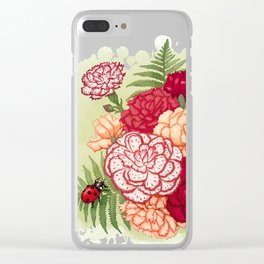 Full bloom | Ladybug carnation Clear iPhone Case