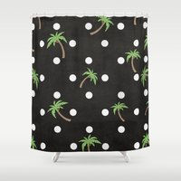 palm trees Shower Curtains featuring Palm Trees by BTP Designs
