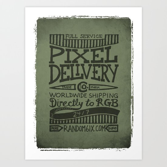 Handwriting: Pixel Delivery Art Print