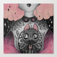 loll3 Canvas Prints featuring Black Cat by lOll3