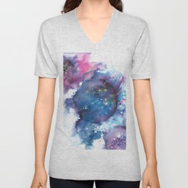 Blue Abstract Art Painting Unisex V-Neck