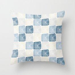 Bohemian Sandcastles- Random: blues & cream, gray Throw Pillow
