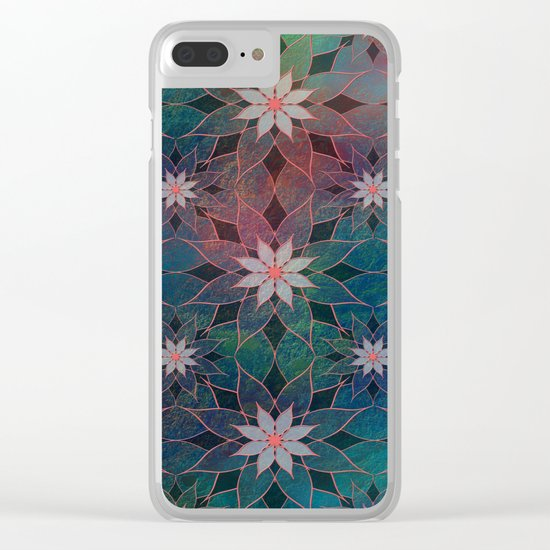Water Lily Pattern Clear iPhone Case