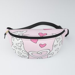 Couple cats with hearts Fanny Pack