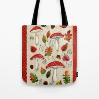mushrooms Tote Bags featuring Mushrooms by Minasmoke