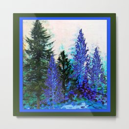 BLUE-GREEN MOUNTAIN FOREST LANDSCAPE Metal Print