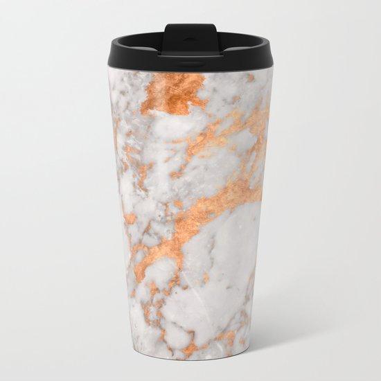 Copper Marble Metal Travel Mug