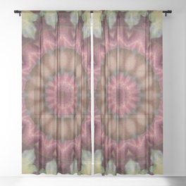 Autumn Leaf Mandala - Abstract Kaleidoscope Design by Fluid Nature Sheer Curtain
