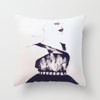 lip Throw Pillows featuring Red Lip by Senhora C