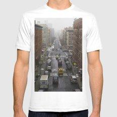 East Harlem NYC Snowy Saturday Mens Fitted Tee White MEDIUM
