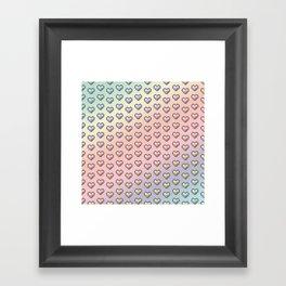 rainbow pixel hearts Framed Art Print