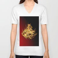 antler V-neck T-shirts featuring antler chandelier by lennyfdzz