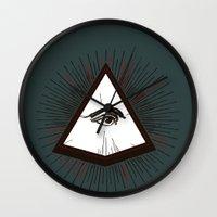 illuminati Wall Clocks featuring Illuminati by Heiko Hoos