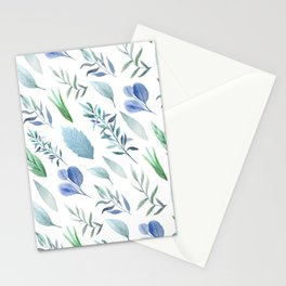 Pastel blue lavender green watercolor hand painted leaves Stationery Cards