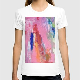 Lucky #13, a contemporary abstract in pinks and fuchsias T-shirt