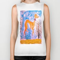 greyhound Biker Tanks featuring Greyhound by Caballos of Colour