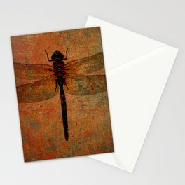 Dragonfly On Orange and Green Background Stationery Cards