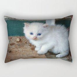 White Kitten Rectangular Pillow